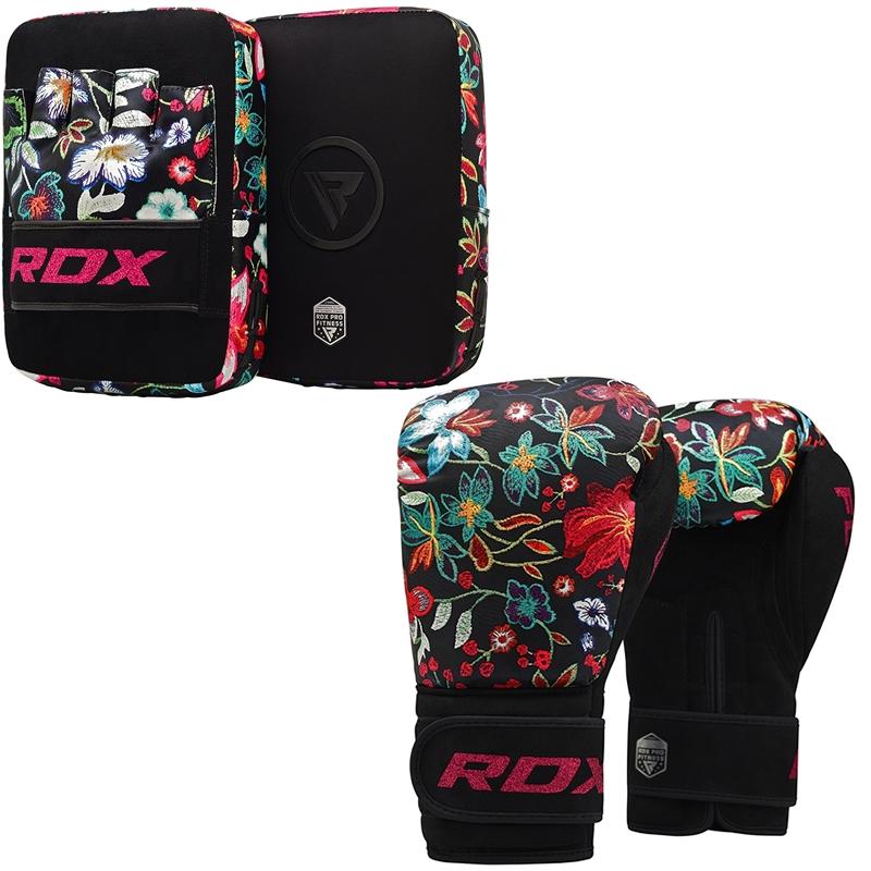 RDX FL3 Manoplas Enfoque con Guantes de Boxeo Cuero PU Negro 8 oz