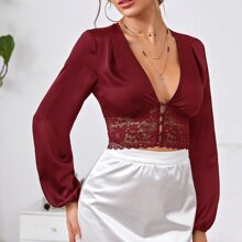 Button Front Lace Panel Satin Top