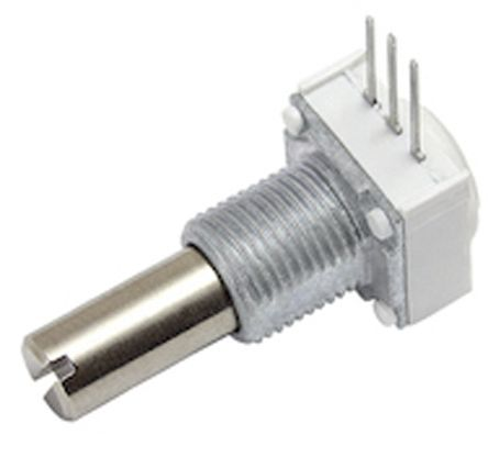 Vishay 1 Gang Rotary Cermet Potentiometer with an 6.35 mm Dia. Shaft - 500Ω, ±10%, 1W Power Rating, Linear, Panel Mount