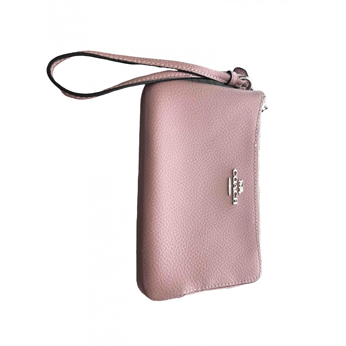 Coach - Portefeuille   pour femme en cuir - rose