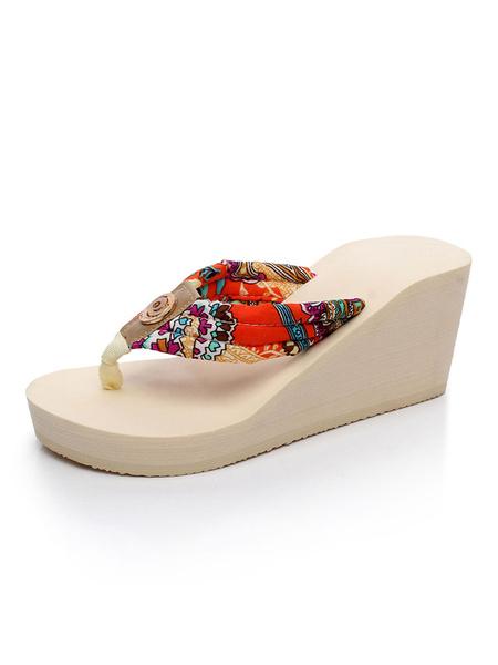 Milanoo Women Flip Flops Ecru White Floral Printed Wedge Sandals Beach Sandal Shoes
