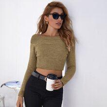 Boat Neck Crop Sweater
