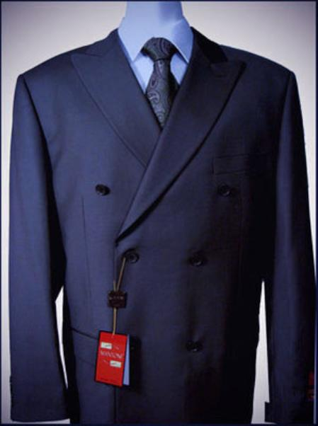 Navy Double breasted peak lapel woolfalt front no pleated pants suit