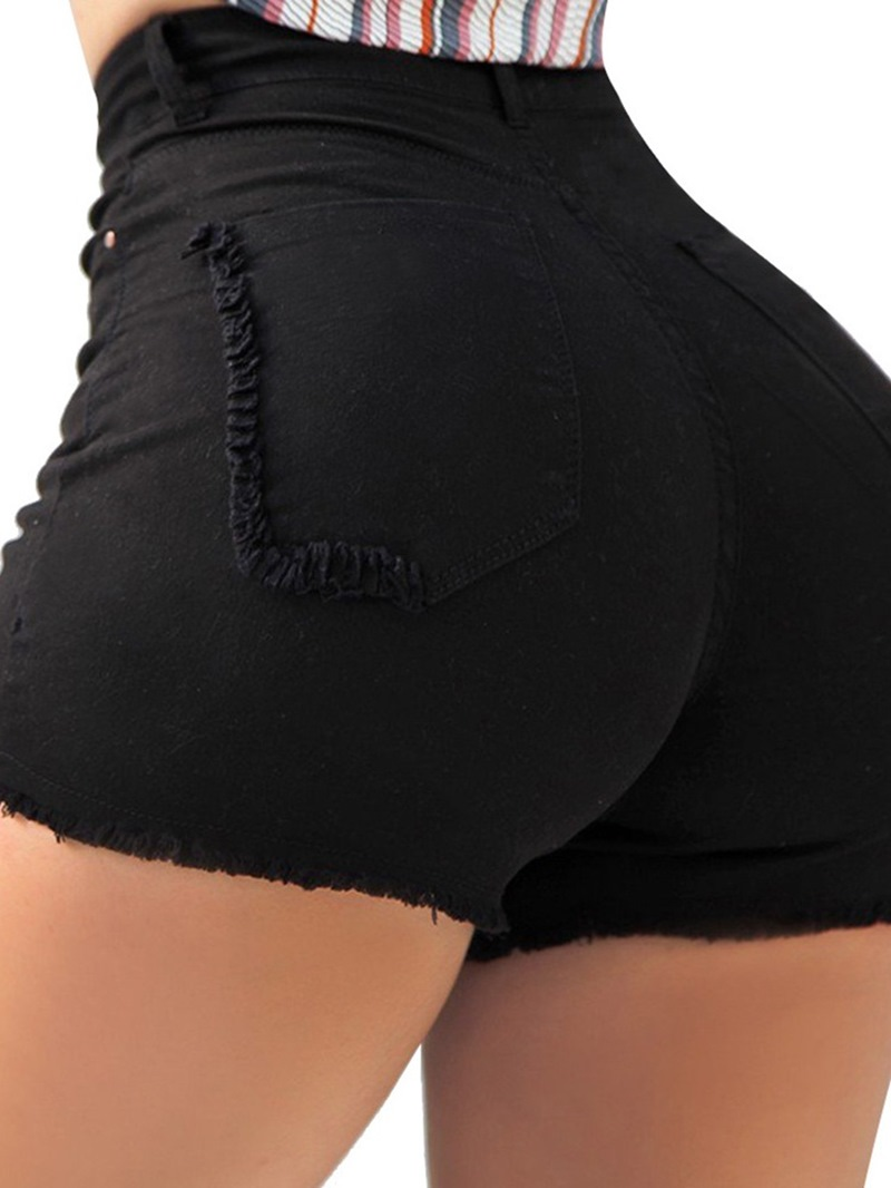 Ericdress Straight Plain Pocket Zipper Skinny Shorts