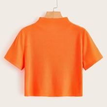 Neon Orange Crop T-Shirt mit Stehkragen