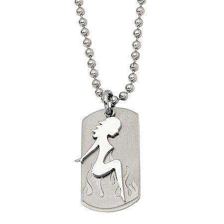 Mens Stainless Steel Pin-Up Girl Dog Tag Pendant, One Size , No Color Family