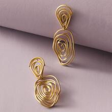 1pair Line Twist Drop Earrings