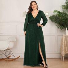 Plus Plunging Split Thigh Glitter Formal Dress