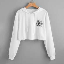 Letter Tropical Graphic Crop Hoodie