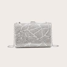 Metallic Rhinestone Decor Clutch Bag