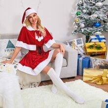 Weihnachten Tube Nachtkleid mit Band & Cape & Hut