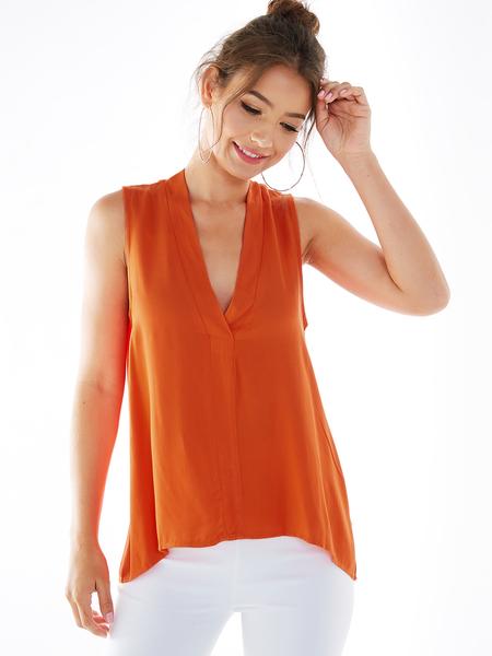 YOINS Orange Deep V Neck Sleeveless Blouse