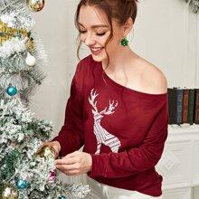 Christmas Reindeer Print Asymmetrical Neck Sweatshirt