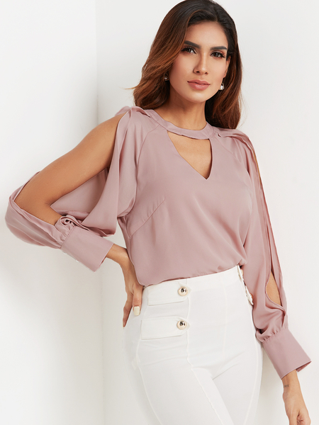 Yoins Dust Pink Keyhole Cutout Cold Shoulder Chiffon Top