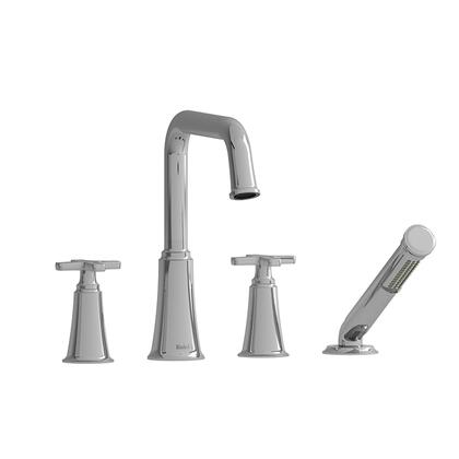 Momenti MMSQ12XBK 4-Piece Deck Mount Tub Filler with x Cross Handles and Hand Shower  in