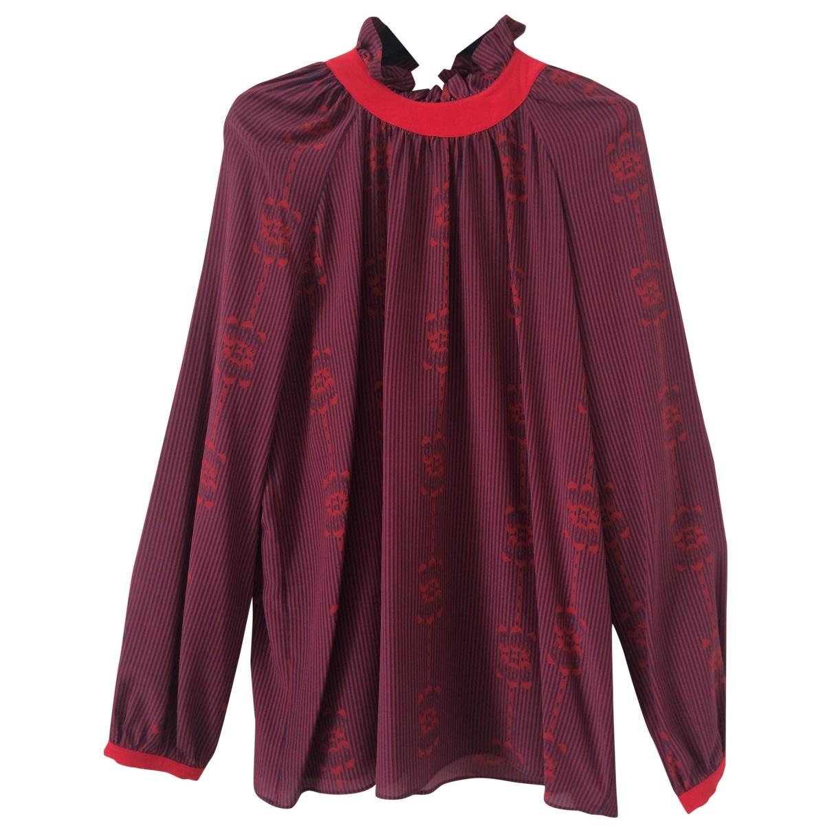 Trussardi - Top   pour femme en soie - rouge