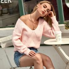 V-neck Pointelle Knit Sweater