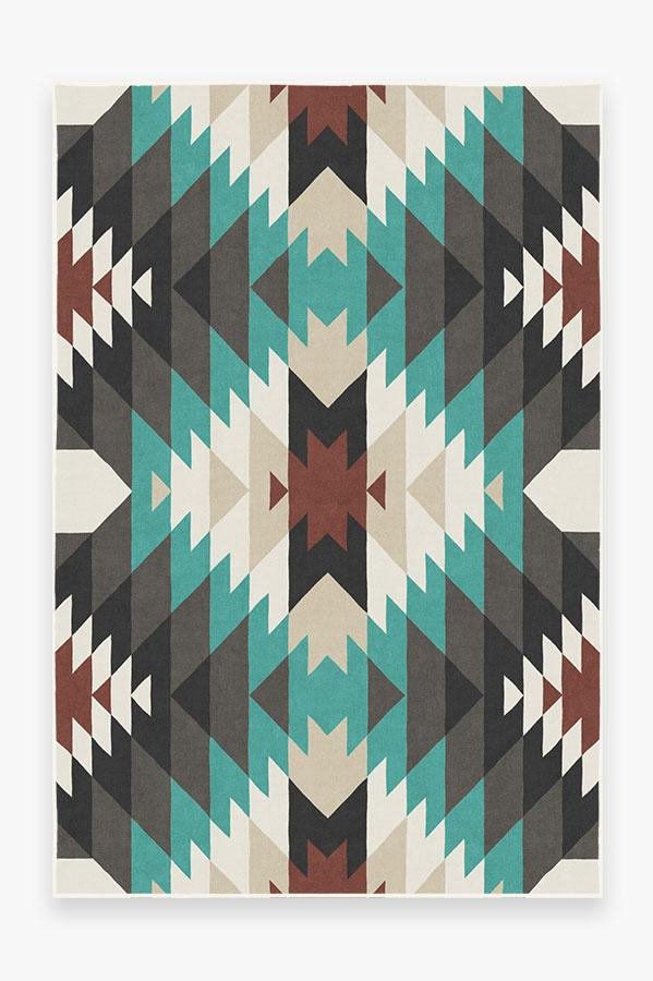 Washable Rug Cover & Pad | Mariposa Turquoise Rug | Stain-Resistant | Ruggable | 6'x9'