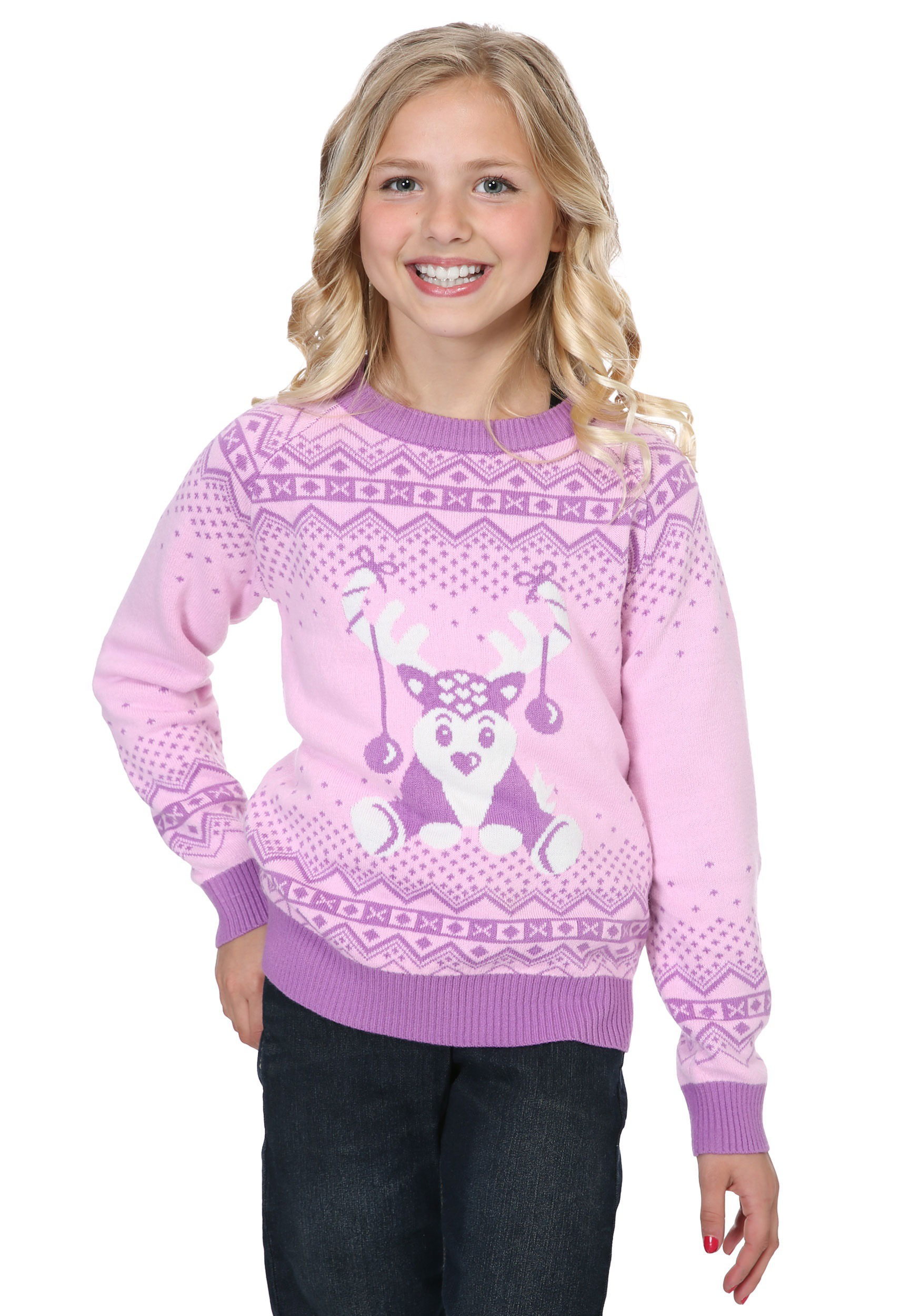 Pink Reindeer Ugly Christmas Sweater for Girls