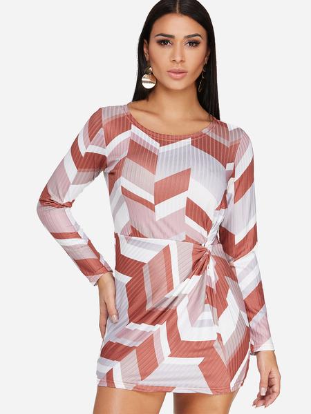 Yoins Knot Design Rhombus Long Sleeves Mini Dress