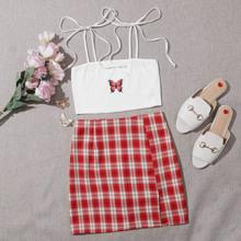 Butterfly Print Knotted Cami Top & Tartan Skirt