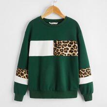 Pullover de niñas de color combinado con estampado de leopardo