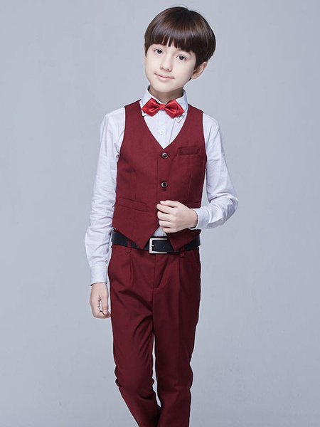 Milanoo Ring Bearer Outfit Wedding Tuxedo Boys Suits Burgundy Kids Formal Wear 5 Piece