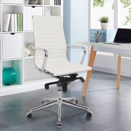 Chaise de bureau moderne avec dossier haut et accoudoirs fixes - Moustache� - Blanc