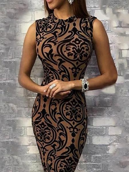 Yoins Print Round Neck Sleeveless Vest Dress