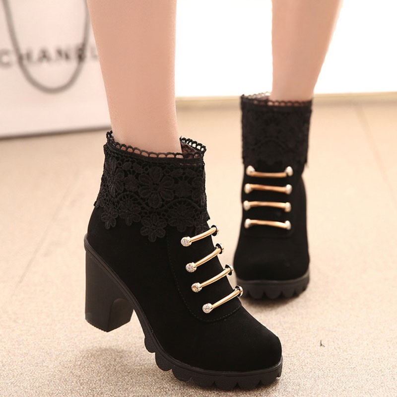 Ericdress Round Toe Side Zipper Floral Casual Boots