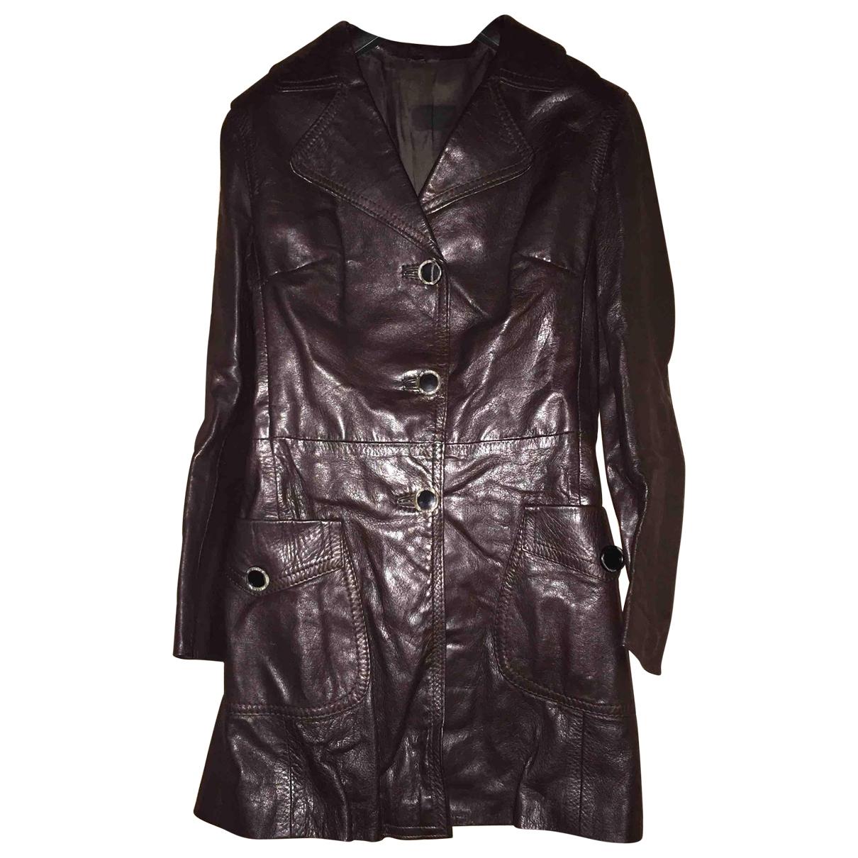 - Blouson   pour femme en cuir - bordeaux