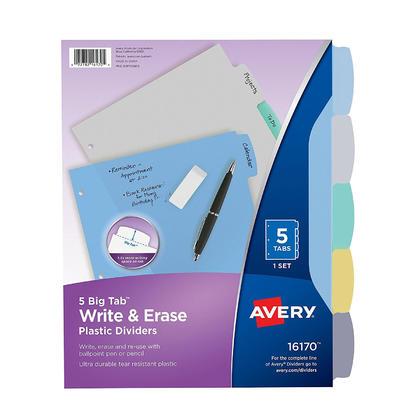 Avery@ Big Tab ecrivez et effacez des diviseurs en plastique durables 1 jeu