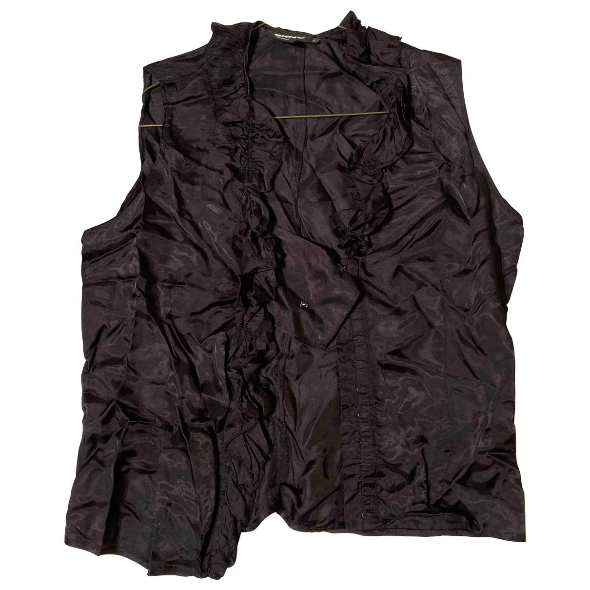Dkny - Top   pour femme en soie - noir