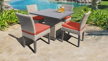 Florence Collection FLORENCE-SQUARE-KIT-4ADCC-TANGERINE Patio Dining Set with 1 Table   4 Side Chairs - Grey and Tangerine