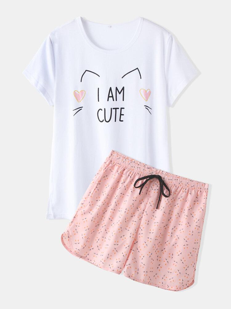 Women Cute Pajamas Sets Cats Softies Short Sleeves Casual Sleepwear For Summer