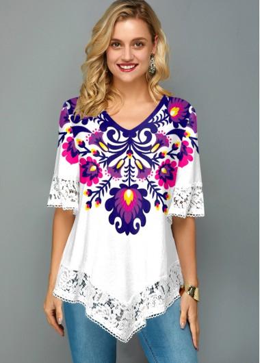 V Neck Lace Stitching Flower Print T Shirt - M