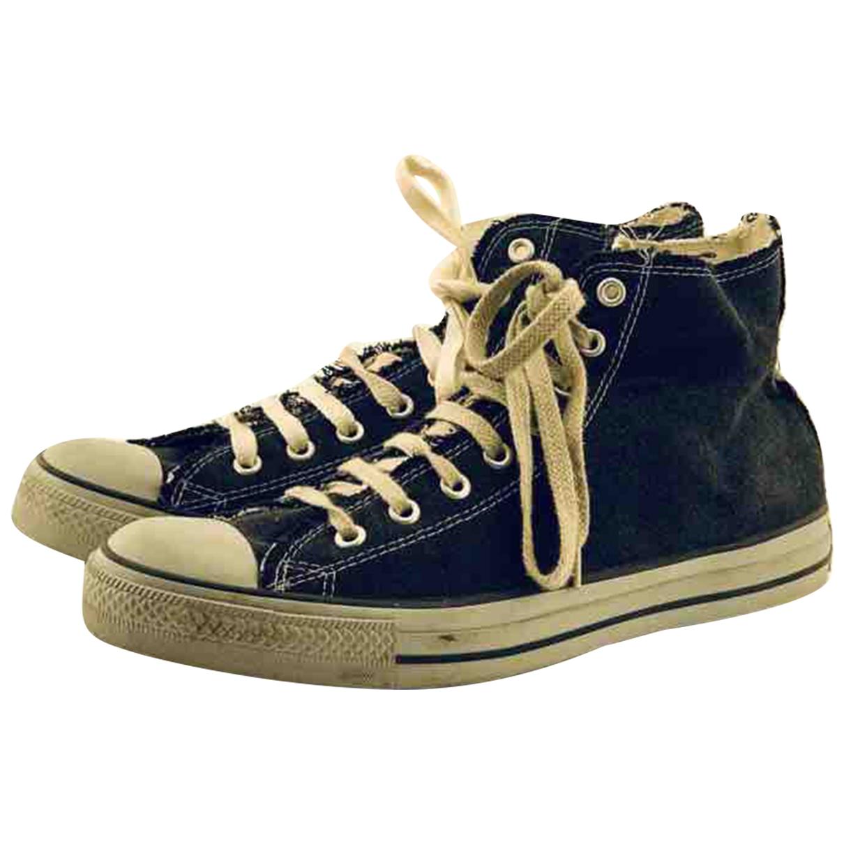 Converse \N Stiefel in  Schwarz Leinen
