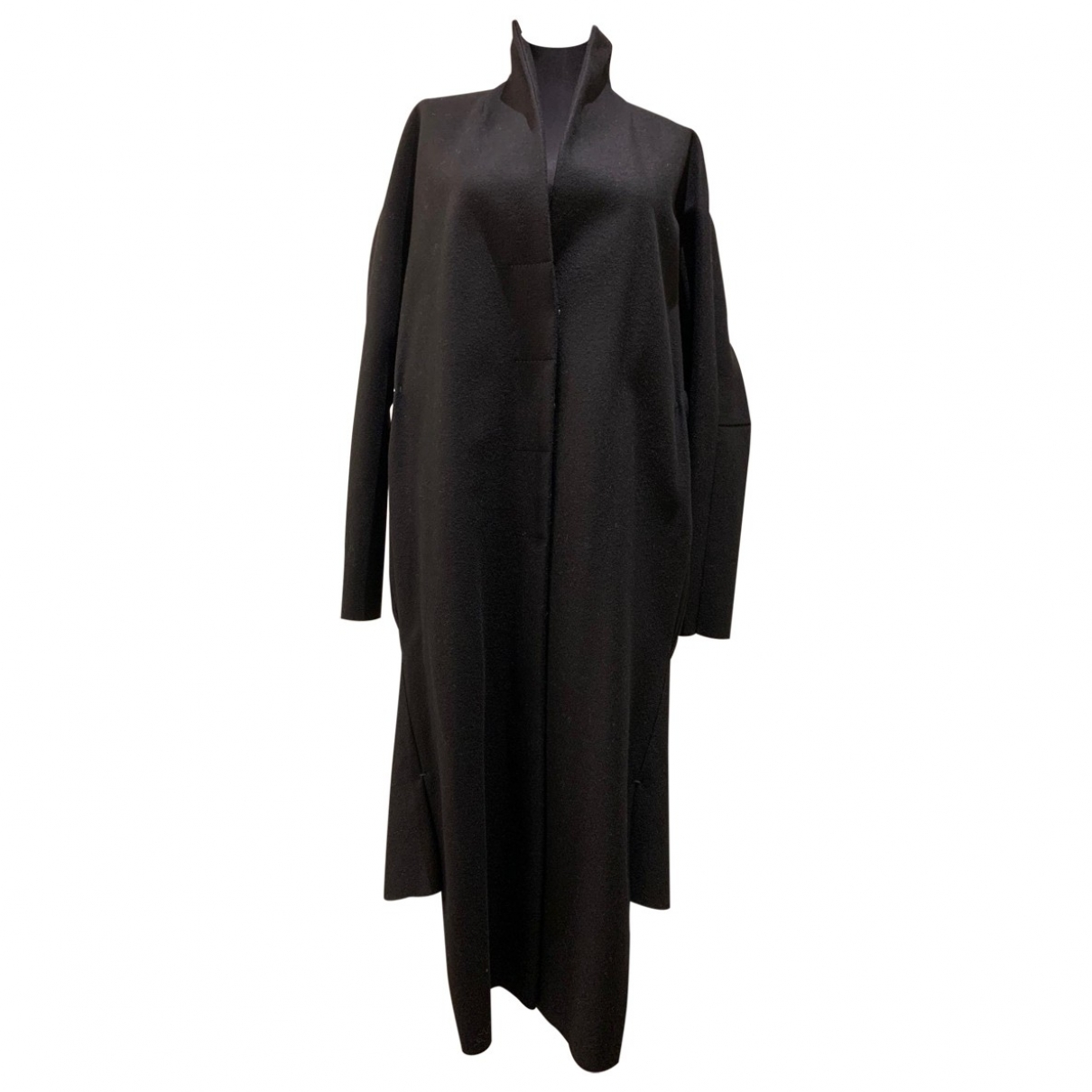 Non Signé / Unsigned \N Black Wool coat for Women 36 FR