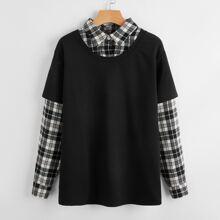 Plaid Pattern 2 In 1 Sweatshirt