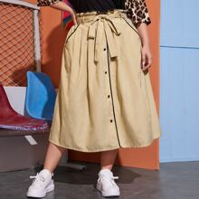 Plus Paperbag Waist Contrast Binding Buttoned Front Skirt