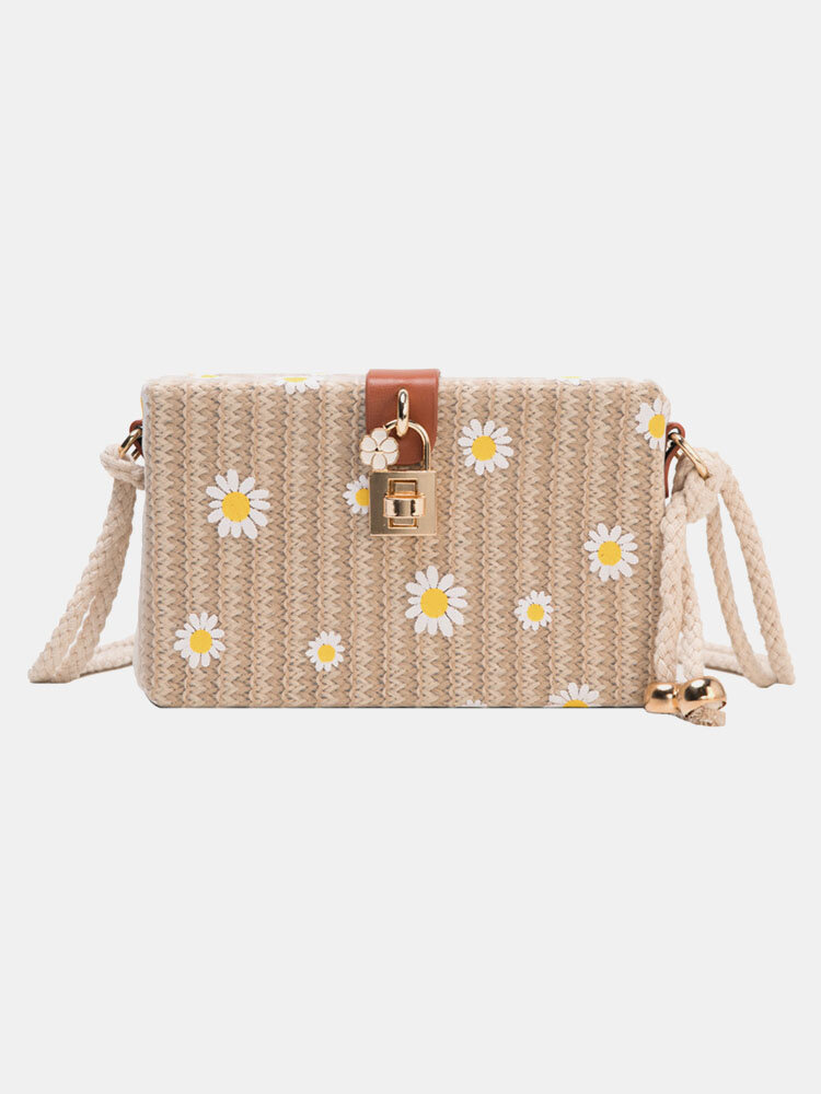 Women Travel Summer Beach Straw Daisy Crossbody Bag