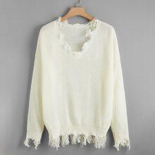 Pullover mit V-Kragen und sehr tief angesetzter Schulterpartie