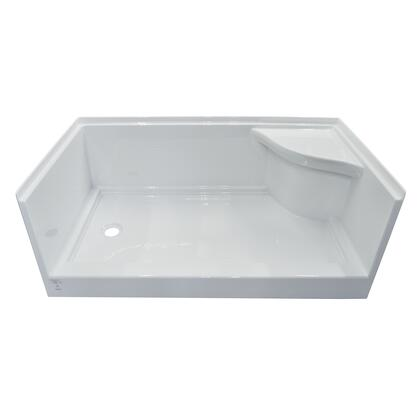 SBWSOD-6032-LD-WHT White Acrylic Right Molded Seat Shower Base