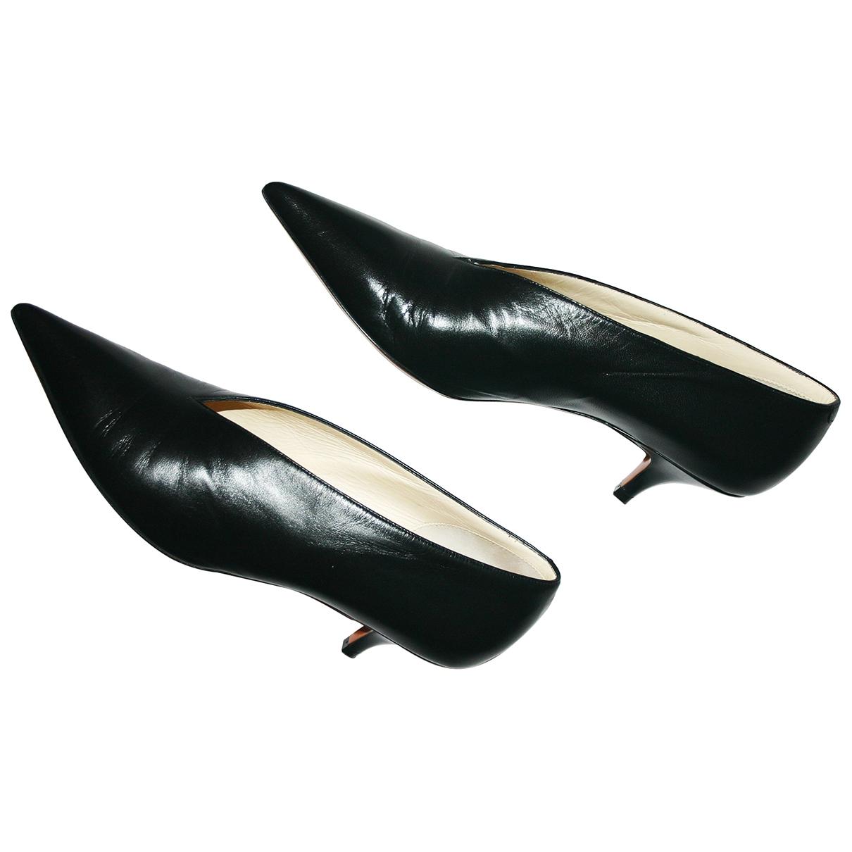 Celine Soft V Neck Black Leather Heels for Women 38.5 IT
