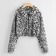Zip Up Leopard Teddy Jacket