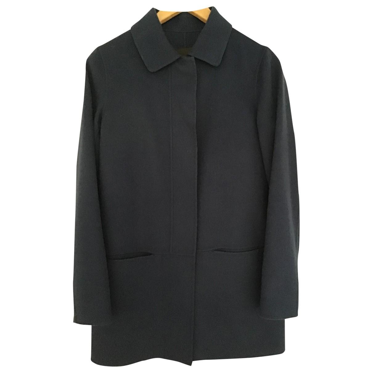 Massimo Dutti - Manteau   pour femme en laine - bleu