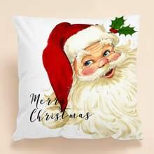 Kissenbezug mit Weihnachtsmann Muster ohne Fuelle