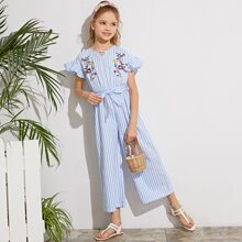 Girls Floral Embroidery Belted Striped Jumpsuit