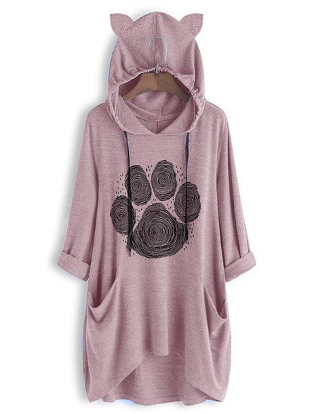 Milanoo Hoodie For Woman Blue 3/4 Length Sleeves Printed Cat Ear Hooded Sweatshirt