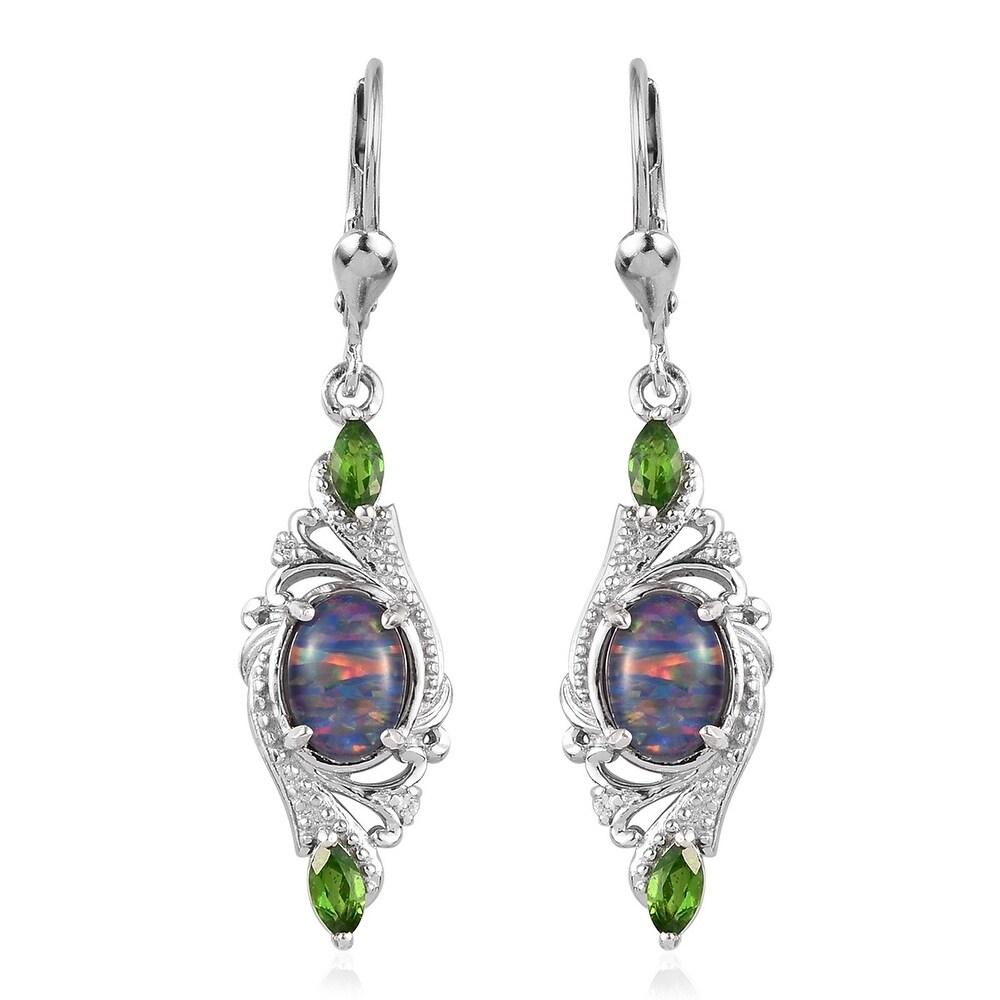 Sterling Silver Opal Triplet Chrome Diopside Dangle Earrings Ct 2.5 (Opal - Multi)